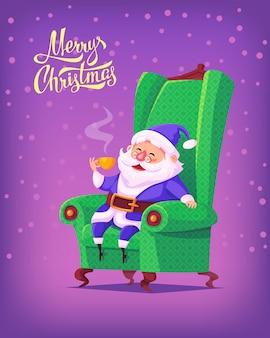 Costume bleu dessin animé mignon père noël assis dans une chaise, boire du thé illustration de joyeux noël