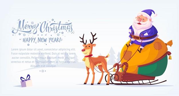 Costume bleu dessin animé mignon père noël assis en traîneau avec renne bannière horizontale illustration joyeux noël