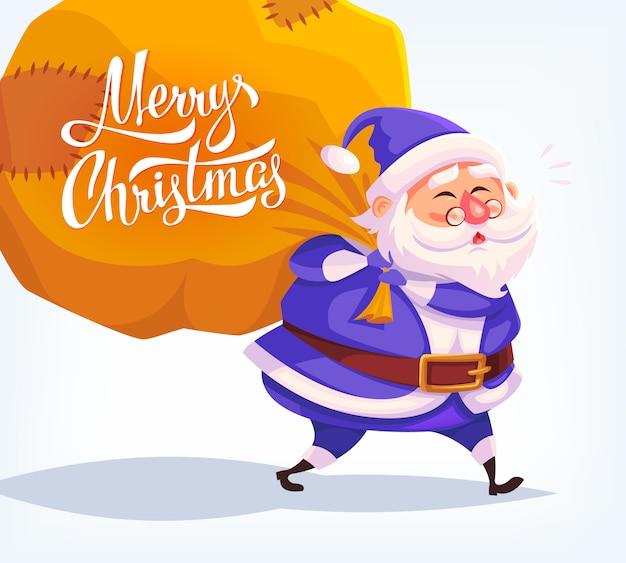 Costume bleu dessin animé mignon père noël offrant des cadeaux dans un grand sac illustration de joyeux noël