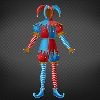 Costume de bouffon rouge et bleu avec des cloches sur un chapeau à cornes, des leggings à rayures et des chaussures à bouts torsadés