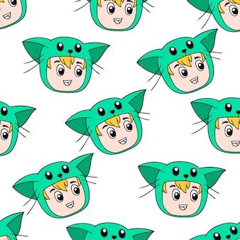 Costume de chat enfant sans couture textile imprimé. idéal pour le tissu vintage d'été, le scrapbooking, le papier peint, les emballages cadeaux. motif de répétition de la conception de fond
