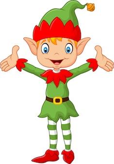 Costume de garçon elfe vert mignon mains vers le haut