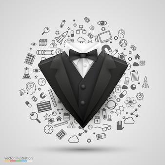 Costume de gentleman sur l'ensemble d'icônes d'affaires. illustration vectorielle