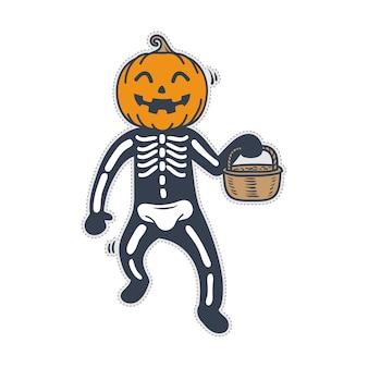 Costume d'halloween citrouille mignon squelette.