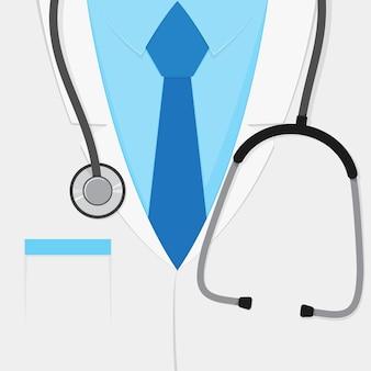 Un costume de médecin ou une blouse de laboratoire avec un stéthoscope. gros plan uniforme médical