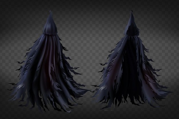 Costume de sorcière réaliste avec capuche, cape noire déchiquetée pour la fête d'halloween