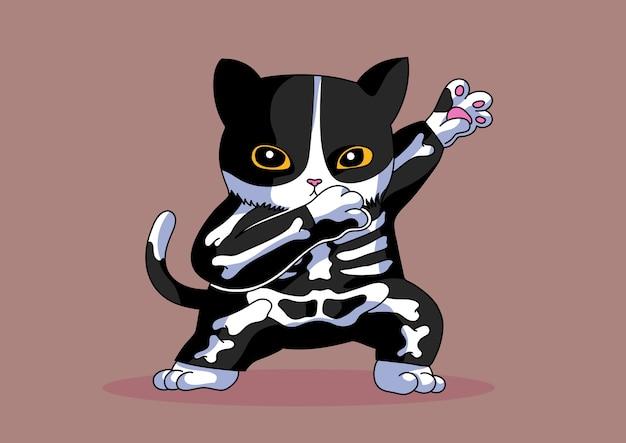 Costume de squelette chat dabbing style halloween drôle mignon