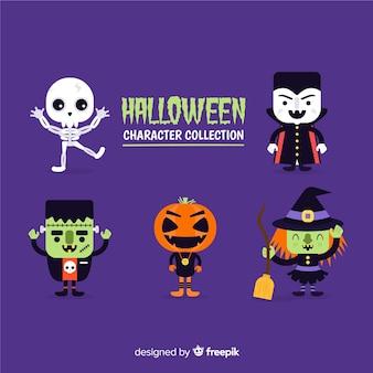 Costumes de personnages collection de personnages halloween plat