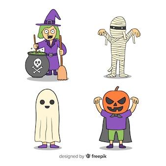 Costumes de personnages d'halloween dessinés à la main