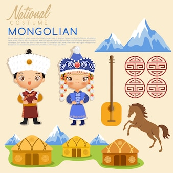 Costumes traditionnels mongols tribaux.