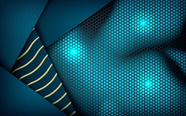 Cote abstraite bleue texturée sur hexagone sombre