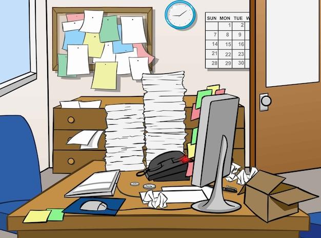 Côté désordonné du bureau