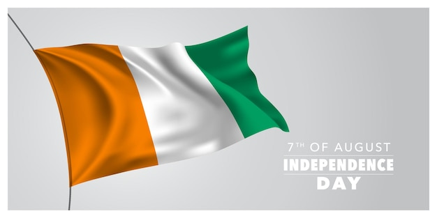Côte d'ivoire joyeux jour de l'indépendance carte de voeux bannière illustration vectorielle horizontale