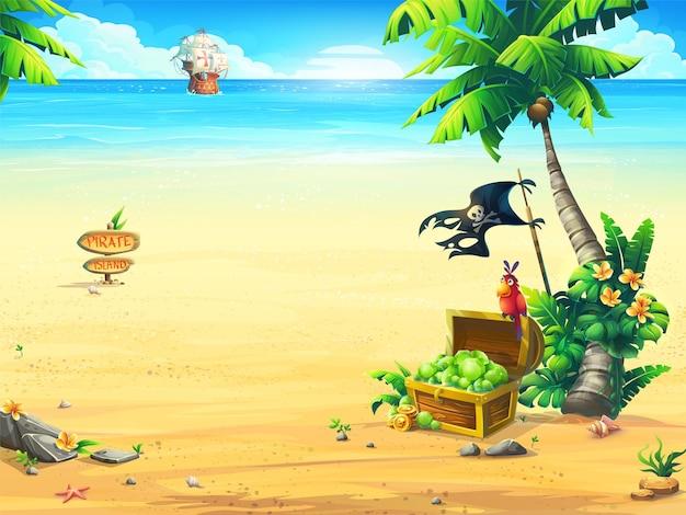Côte de l'océan avec une illustration de la poitrine