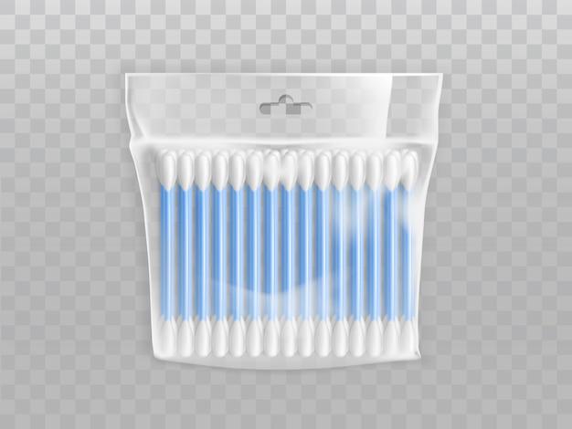 Coton-tiges ou cotons-tiges dans un paquet de plastique vide avec trou de suspension