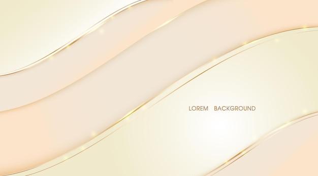 La couche abstraite beige chevauche l'illustration avec le fond d'onde de ligne dorée