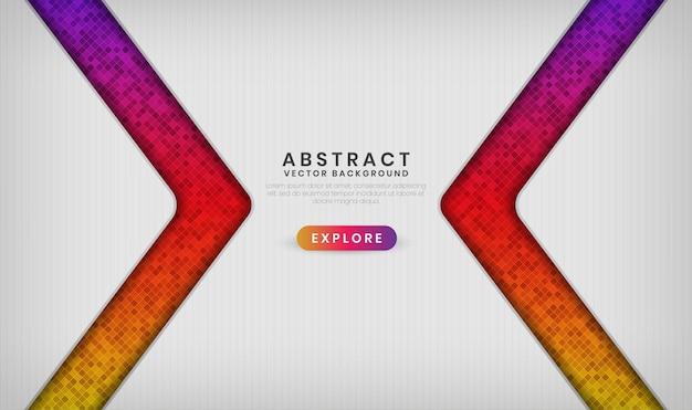 Couche de chevauchement de bannière blanche 3d abstraite avec des effets de motif de losange coloré