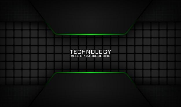 Couche de chevauchement de fond abstrait technologie noire avec effet de lumière verte