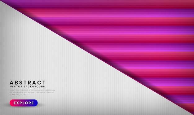 Couche de chevauchement de fond blanc 3d abstrait avec des formes de dégradé coloré géométrique avec un mélange de couleur rose et violet
