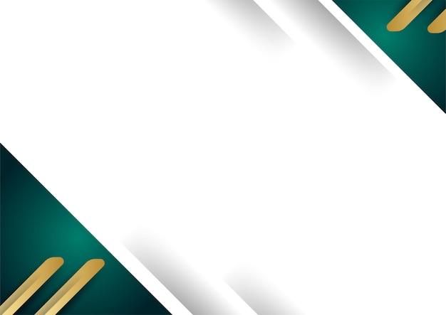 Couche de chevauchement de fond blanc de luxe abstrait avec des éléments de décoration de formes dorées et vertes. convient pour l'arrière-plan de la présentation, la bannière, la page de destination web, l'interface utilisateur, le dépliant, la bannière