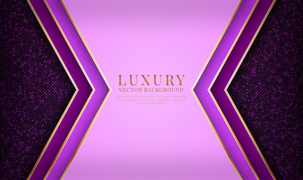 Couche de chevauchement de fond de luxe violet abstrait avec effet de lignes métalliques dorées