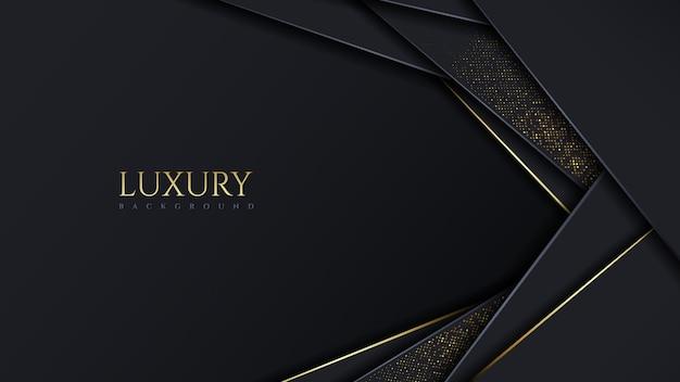 Couche de chevauchement de fond sombre moderne de luxe avec des paillettes dorées sparkles