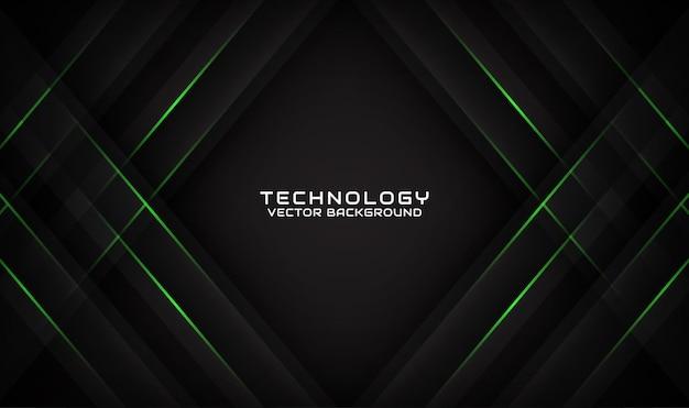 Couche de chevauchement de fond de technologie noire 3d abstrait avec effet de lignes vertes géométriques