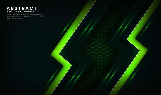 Couche de chevauchement de fond de technologie verte 3d abstraite avec décoration d'effet de lignes lumineuses