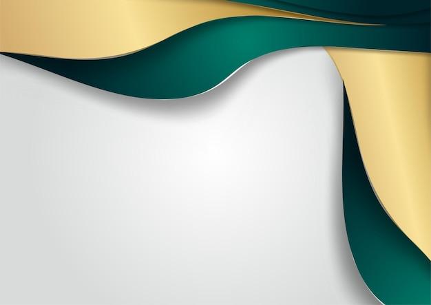 Couche de chevauchement vert foncé de luxe abstrait avec ligne dorée sur fond argenté. fond de luxe et élégant. conception de modèle abstrait. conception pour présentation, bannière, couverture, carte de visite
