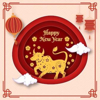 Couche de papier coupé fond avec signe du zodiaque golden ox