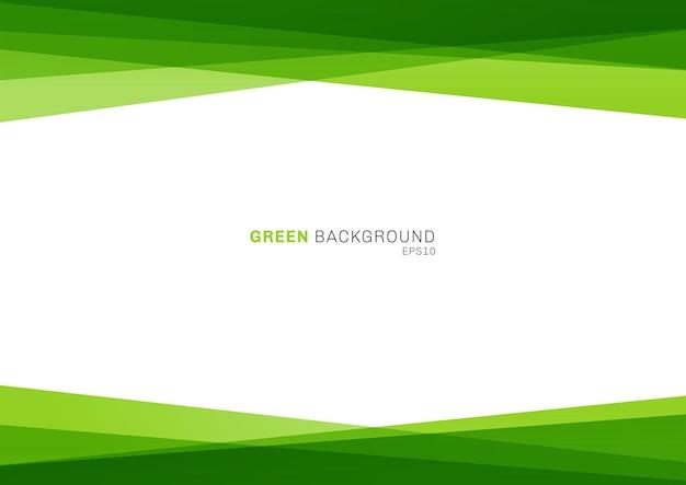 Couche superposée brillante de couleur verte géométrique abstraite sur fond blanc