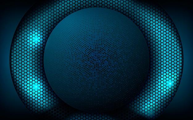Couche superposée en forme de cercle sur un fond hexagonal