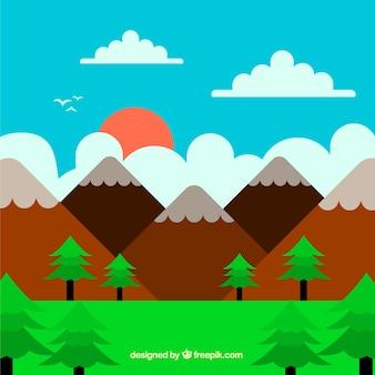 Coucher de soleil, beau paysage