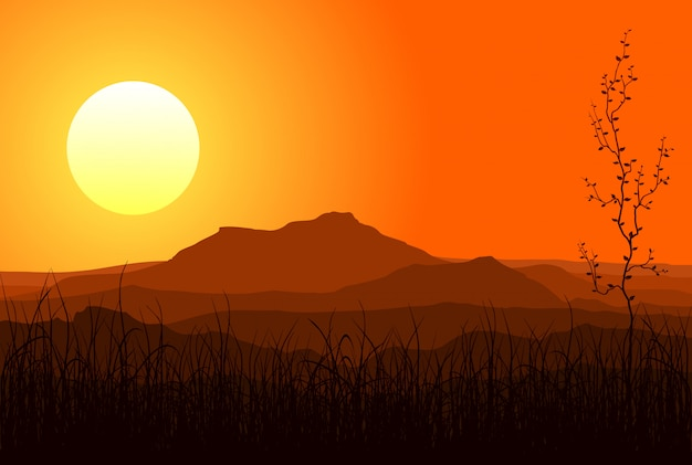 Coucher de soleil dans les montagnes