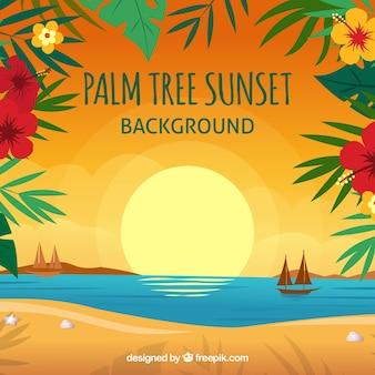 Coucher de soleil fond sur la plage avec décoration florale