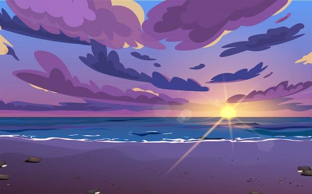Coucher de soleil ou lever de soleil, aube en mer avec des nuages dans le ciel.
