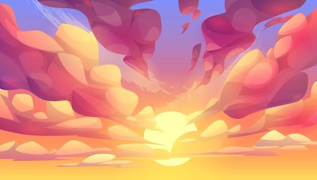 Coucher de soleil ou lever de soleil, ciel avec fond de nuages roses