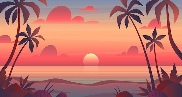 Coucher de soleil sur la mer. vue du soir ou du matin sur le soleil au-dessus de l'océan