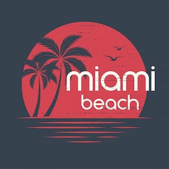 Coucher de soleil à miami. conception de t-shirts et de vêtements, impression, typographie