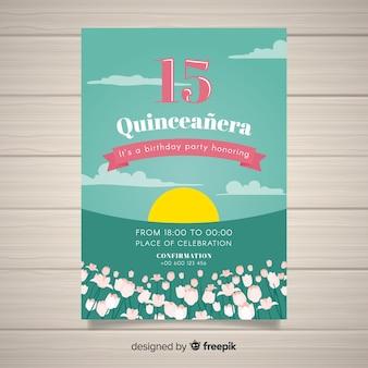 Coucher de soleil modèle de carte quinceanera