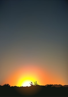Coucher de soleil et paysage se découpant