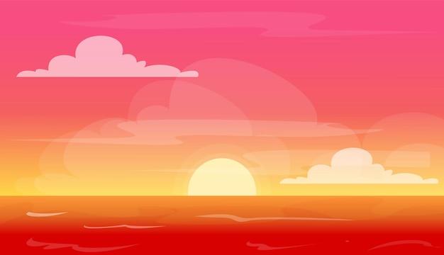 Coucher de soleil sur la plage ciel beau fond