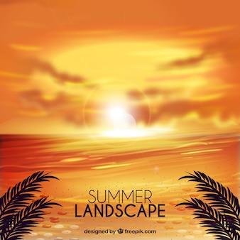 Coucher de soleil sur la plage fond de paysage