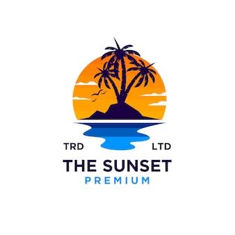 Coucher De Soleil Plage Logo Design Illustration Vecteur Vecteur Premium