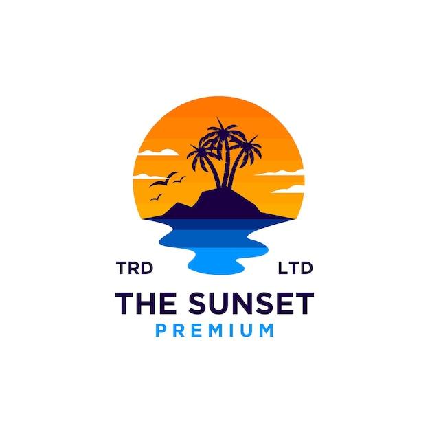 Coucher de soleil plage logo design illustration vecteur