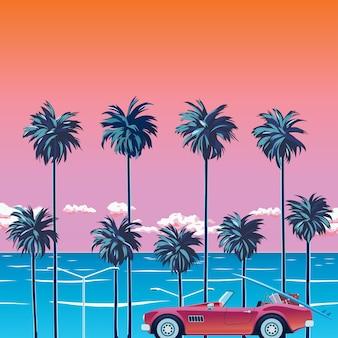 Coucher de soleil sur la plage avec palmiers, océan turquoise et ciel orange avec nuages. voiture sur la plage.