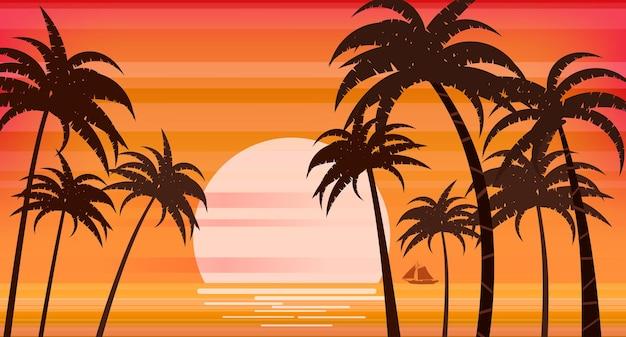 Coucher de soleil plage palmiers silhouettes été tropical mer océan
