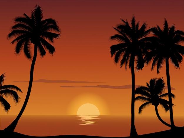 Coucher de soleil à la plage avec la silhouette des arbres de noix de coco