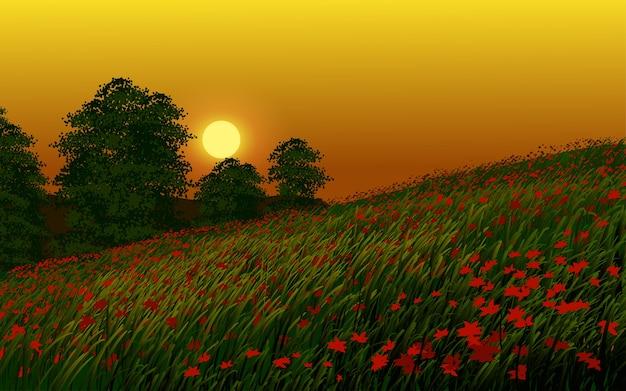 Coucher de soleil tranquille dans un champ de fleurs avec des arbres