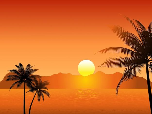 Coucher soleil tropical avec des palmiers